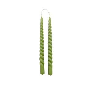 Kaarsen set van 2 Swirl 29cm Olive Green Rustik LYS