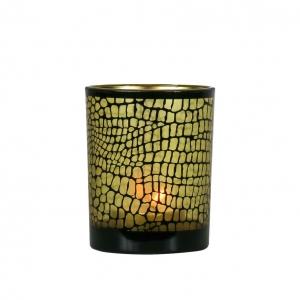 Waxinelichthouder Croco zwart/goud Medium