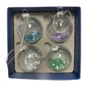 Kerstballen &Klevering Glitterballen set van 4