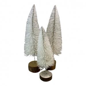 Kerstbomen set van 3 wit met houten voet