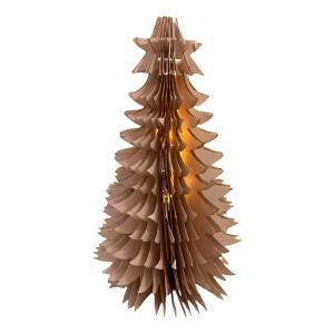 Kerstboom Karton Roze/Goud 30cm