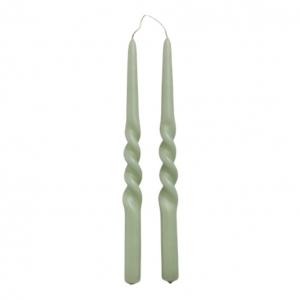 Kaarsen set van 2 Twist 29cm Dusty Green Rustik LYS