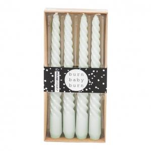 Kaarsen Twisted set van 4 Mintgroen 20cm Housevitamin