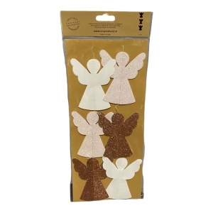 Kerstslinger Engeltjes met glitters 1meter