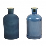Set van 2 Fles Kaarsenhouders Blauw 10x20cm