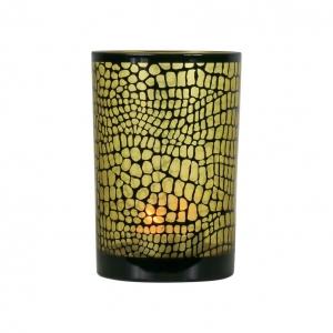 Waxinelichthouder Croco zwart/goud Large