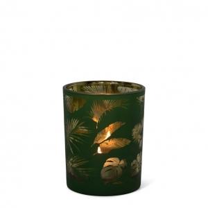 Waxinelichthouder groene veren small